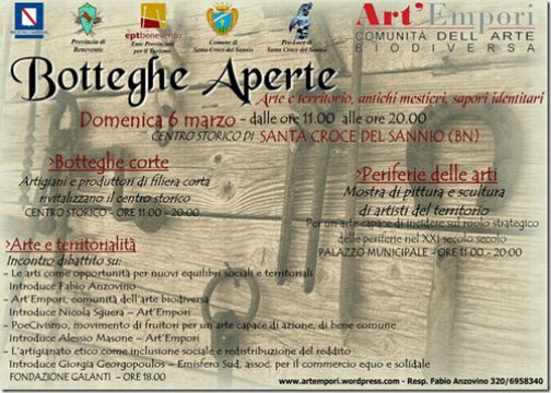 'Botteghe aperte', arte e territorio a Santa Croce del Sannio