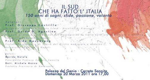 150 Unità d'Italia, a Cerreto convegno dal titolo 'Il Sud che ha fatto l'Italia'