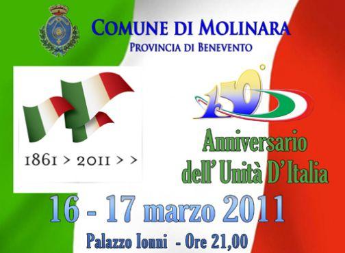 Molinara, notte tricolore per il 150°anniversario dell'Unità d'Italia