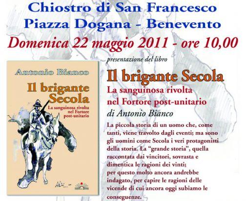 'Il brigante Secola', la presentazione del libro al chiostro San Francesco