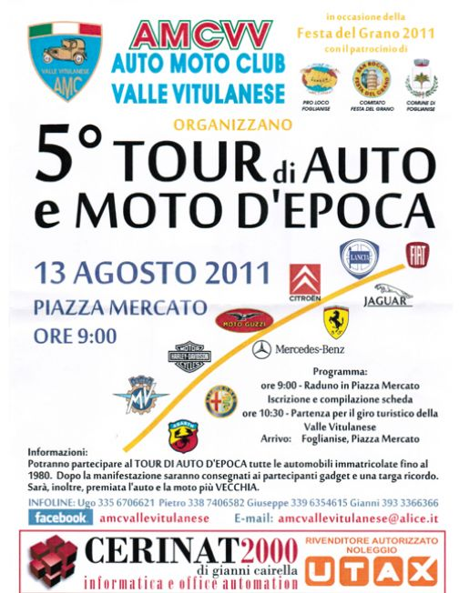 A Vitulano la quinta edizione del 'Tour auto e moto d'epoca'