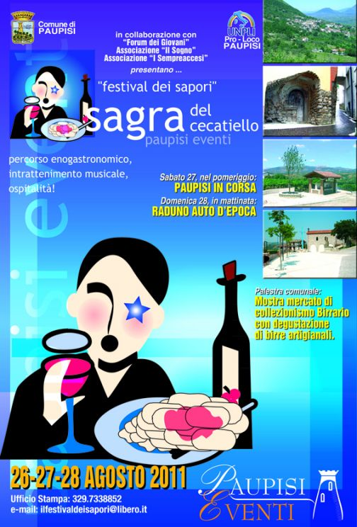 Paupisi, Festival dei Sapori: il 26, 27 e 28 agosto