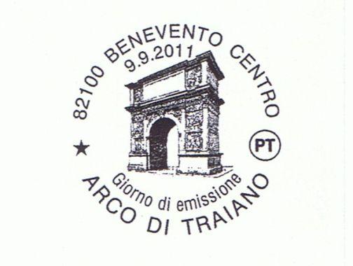 Alla Rocca dei Rettori annullo postale Arco Traiano e Mostra filatelica