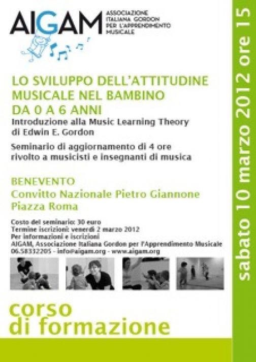 Al Giannone seminario su 'Lo sviluppo dell'attitudine musicale nel bambino'