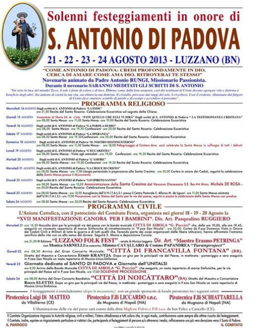 Luzzano, Festa di S. Antonio di Padova: dal 21 al 24 agosto