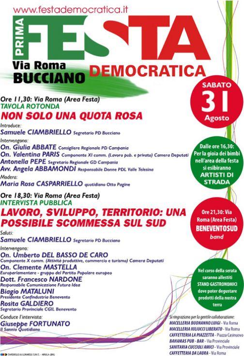 Bucciano, prima festa democratica il 31 agoto