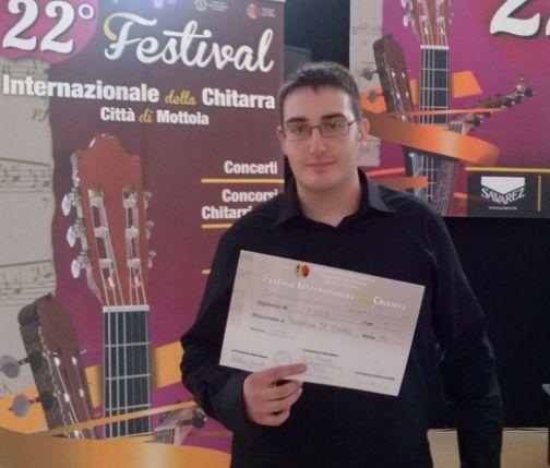 Concorsi internazionali di chitarra, successo per il sannita Federico De Conno