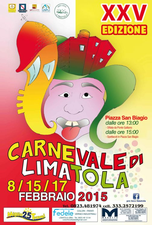 Carnevale di Limatola, la XXV edizione 8 -15-17 febbraio