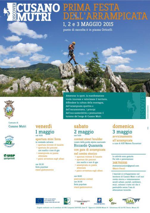 Cusano, 'Festa dell'Arrampicata e dell'Attività di Montagna': prima edizione.
