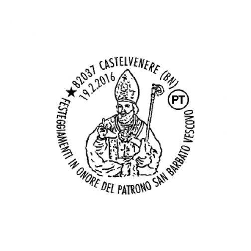 Castelvenere, solennità del Patrono San Barbato Vescovo : annullo filatelico