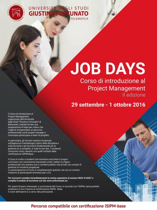 Unifortunato, Job Day: corso di Project Management