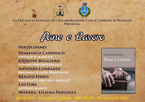 A Baselice presentazione del libro 'Pane e Lavoro' di Antonio Bianco