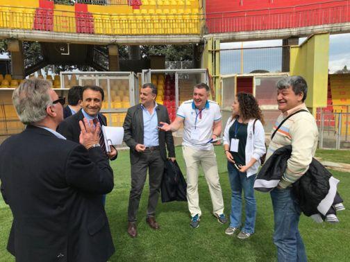 Una delegazione della FISU ha effettuato stamani un sopralluogo al Ciro Vigorito