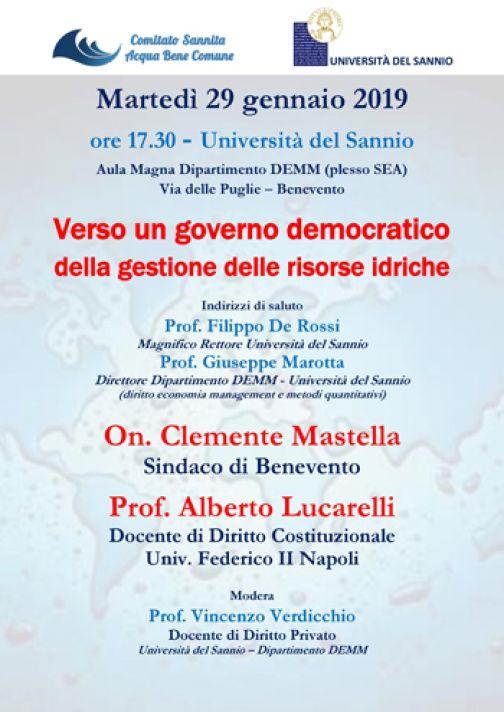 Acqua bene comune, domani conferenza pubblica all'Università