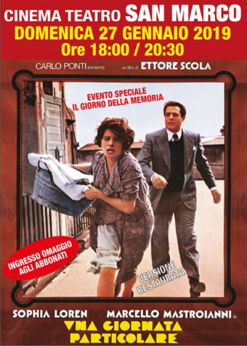 """Cinema San Marco, domani """"Una giornata particolare"""" di Ettore Scola."""