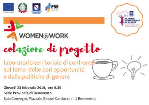 """Il 28 febbraio incontro nell'ambito del progetto """"Women@Work"""""""