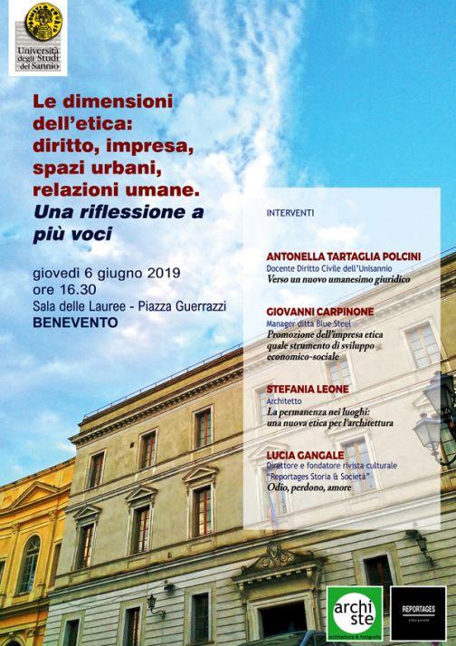 Le dimensioni dell'etica: diritto, impresa, spazi urbani, relazioni umane: se ne discute all'Università del Sannio