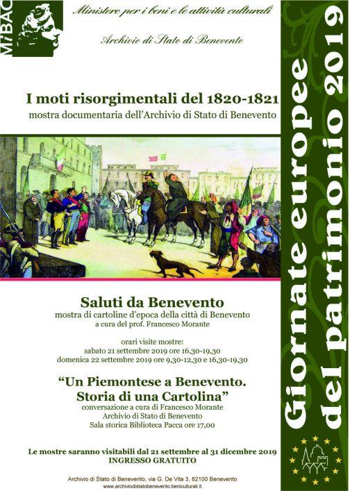 Giornate Europee del Patrimonio 21 e 22 settembre, mostra all'Archivio di Stato