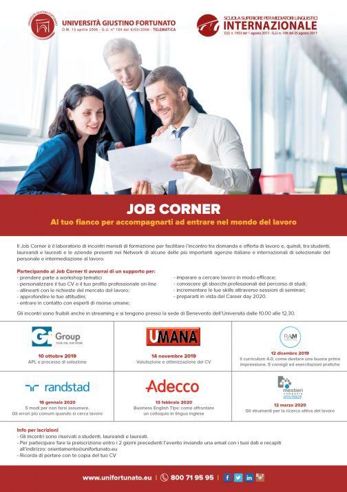 Le maggiori agenzie per il lavoro al Job Corner dell'Unifortunato