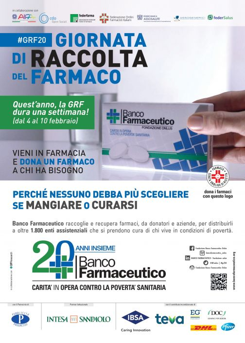 Banco Farmaceutico 2020, al via la raccolta dei medicinali per i più indigenti