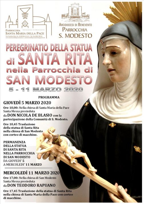 Chiesa San Modesto – Rione Libertà: peregrinatio Santa Rita
